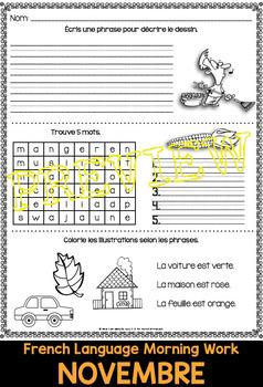 French Worksheets NOVEMBER Language Morning Work
