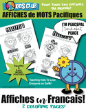 French Language Words Coloring Lesson Learn Kindness Peace