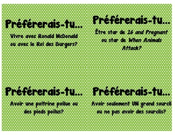 """French """"Would You Rather"""" cards for Vocabulary and Conversation"""