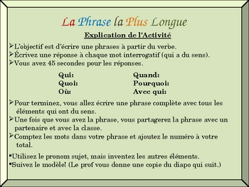 French Writing Activity with Regular Verbs (Detailed Sentences)
