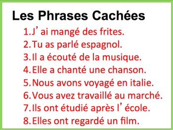 French Writing Practice Powerpoint -Passe Compose, Regular Verbs