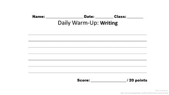 French Writing Prompt Warm-Ups: 15 total prompts