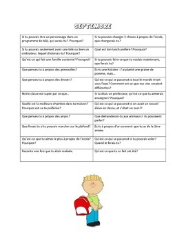 French Writing Prompts for the Whole Year!