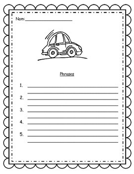 French Writing activity