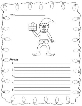 French Writing activity for Christmas