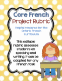 French Writing and Oral Rubric (EDITABLE) Perfect for Assi