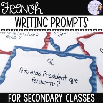 French Writing prompts task cards/sujets d'écriture-cartes à tâches