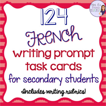 French Writing prompts task cards/sujets d'écriture-cartes à tâches