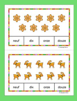 French Christmas Numbers Nombres Count and Clip cards