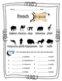 French Zoo Animals Worksheet Packet