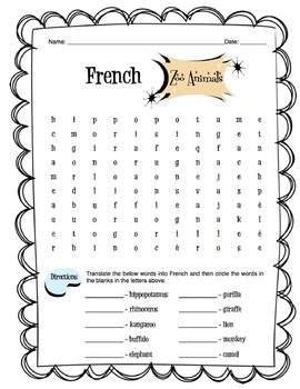 french zoo animals worksheet packet by sunny side up. Black Bedroom Furniture Sets. Home Design Ideas