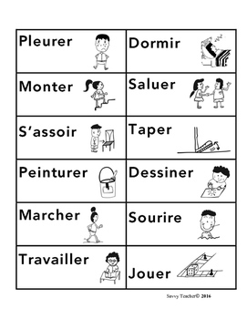 French action verb charade with pictures/actions