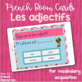 French adjective task cards BOOM CARDS LES ADJECTIFS