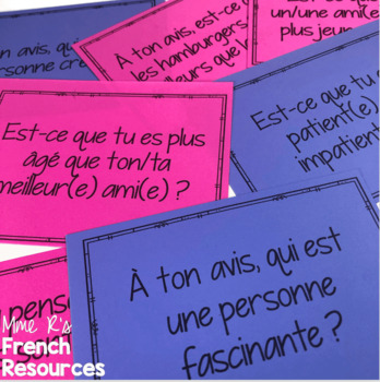 French adjectives speaking cards for beginners