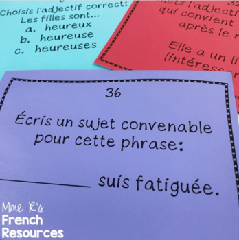 French adjectives task cards and scoot game