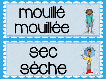 French adjectives word wall - opposites / mur de mots - les adjectifs