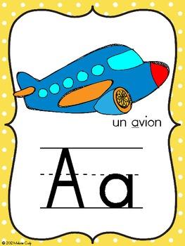 French alphabet posters / affiches de l'alphabet français (primary polka dots)