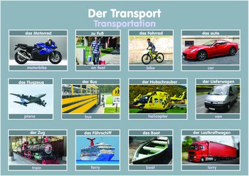 German and English Transport Poster  . A3 size.