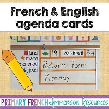 French and English agenda cards