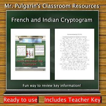 French and Indian Cryptogram - Teacher Key Included
