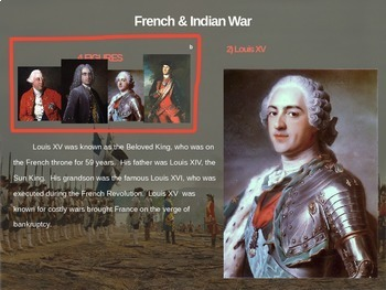 French and Indian War - 4 causes, 4 figures, 4 events, 4 effects (20-slide PPT)