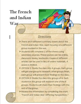 French and Indian War: A cooperative activity