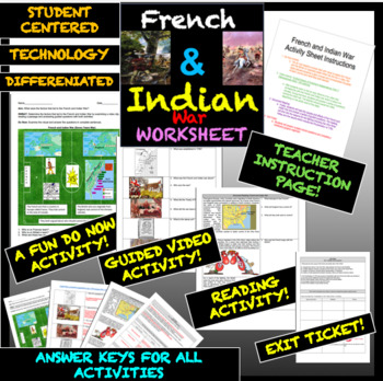 French and Indian War Worksheet: Interactive and Exciting Visual Replication CCS