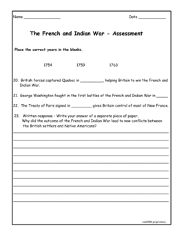 French and Indian War Assessment