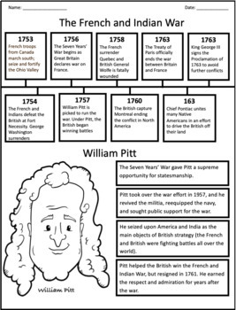 French And Indian War Cause And Effect Graphic Organizer By