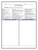 French and Indian War Cause and Effect T-Chart Graphic Organizer with Answer Key