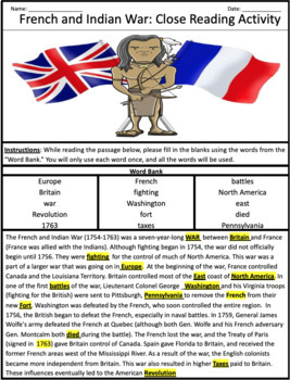 French and Indian War + Key Terms Word Search (Cloze Reading Activity)