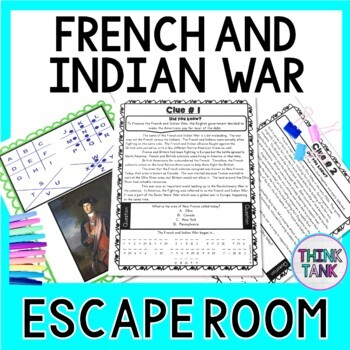 French and Indian War ESCAPE ROOM: Print & go!