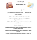 French and Indian War Menu Project