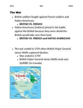 French and Indian War Modified Notes