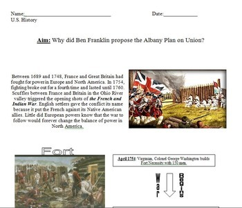 French and Indian War Review Worksheets, Document Analysis and Quick Quiz