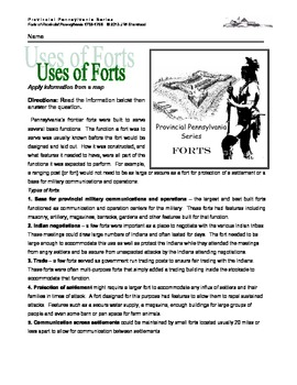 French and Indian War: Uses of Pennsylvania Forts