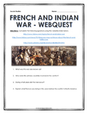 French and Indian War - Webquest with Key