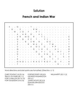 French and Indian War Worksheet/ Word Search