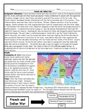 French and Indian War Worksheet with Maps and Answer Key