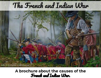 French and Indian War - Brochure plus map coloring activity- editable