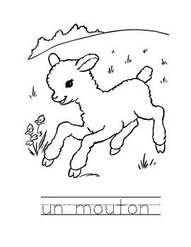 French animals pack of 40 colouring sheets - great for bellwork and practice
