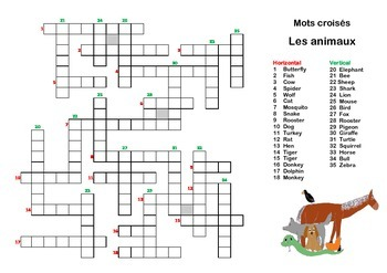 French vocabulary animals crossword wordsearch