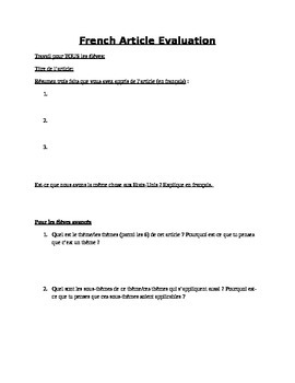 French article evaluation form