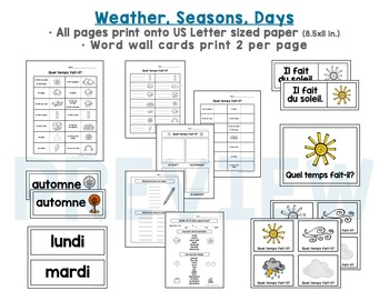 French Flash Cards: Numbers, Colors (Colours) Weather, Months, Seasons