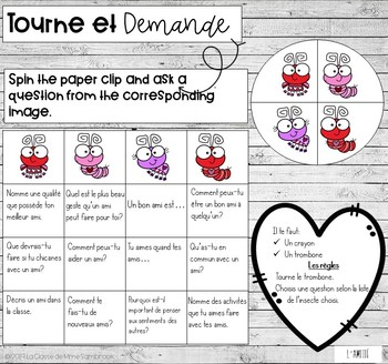 French asking questions game I Tourne et demande