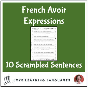 French avoir expressions scrambled sentences exercise