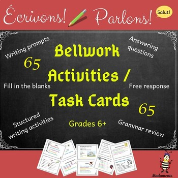 French: Distance Learning: bell work/task card activities