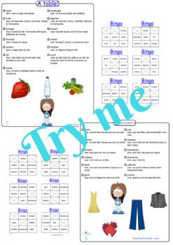 French bingo cards for pre-intermediate