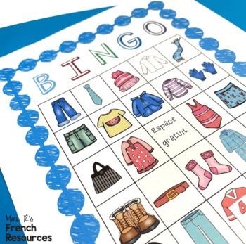 French bingo clothing vocabulary LES VÊTEMENTS