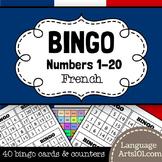 French bingo numbers 1-20. Loto des nombres de 1 à 20